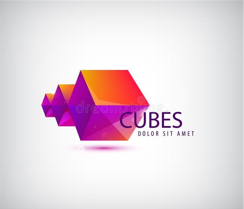 Vector логотип astract 3d геометрический, компания кубов origami иллюстрация штока