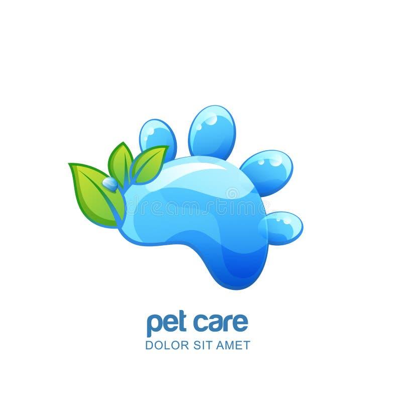 Vector логотип, emblem, элементы дизайна ярлыка для заботы любимчика органической, шампунь, косметика или холить Лапка воды кота  бесплатная иллюстрация