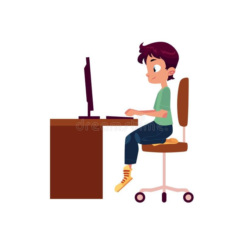 Vector мальчик плоского шаржа предназначенный для подростков на столе компьютера иллюстрация штока