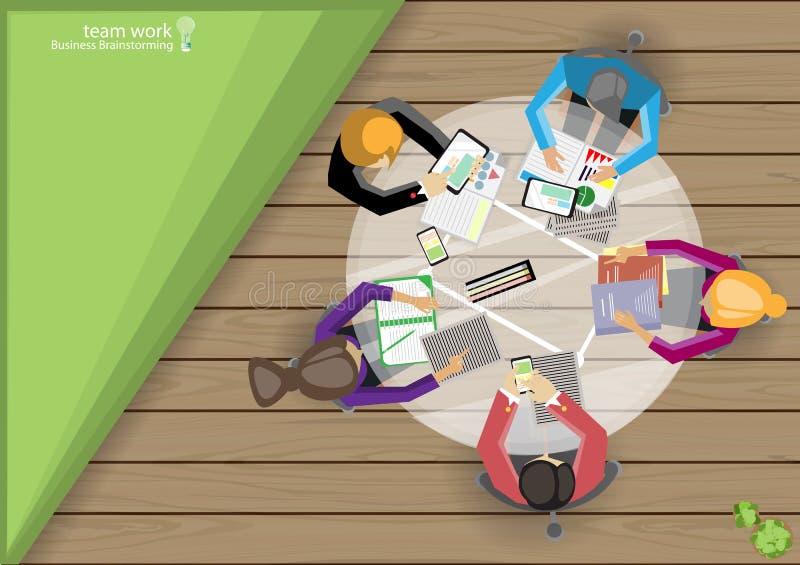 Vector места работы дела, сыгранность, метод мозгового штурма, анализ возможностей производства и сбыта, маркетинговый план, карт иллюстрация вектора