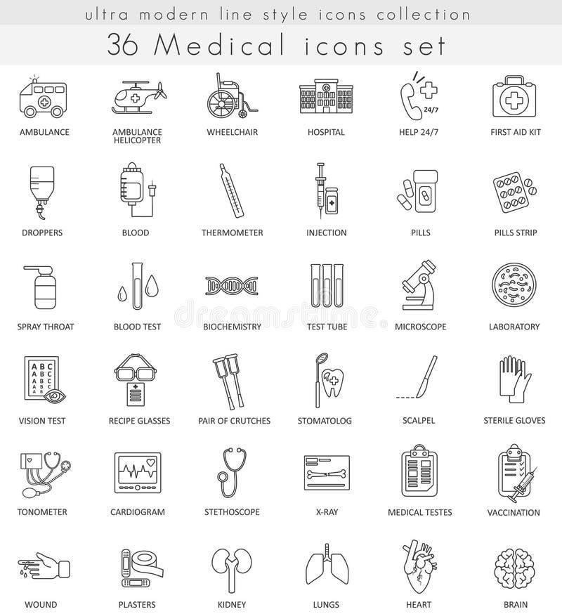 Vector медицинская ультра современная линия значки плана для сети и apps бесплатная иллюстрация
