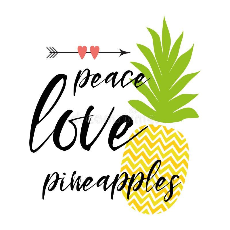 Vector мир текста, влюбленность, ананасы украсил свежий ананас, сердца Вдохновляющая цитата лета, печать бесплатная иллюстрация