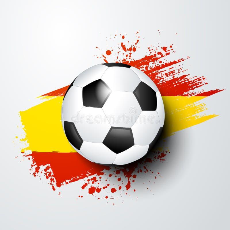 Vector мир футбола иллюстрации или европейский чемпионат с шариком и почистьте цвета щеткой флага Испании стиля бесплатная иллюстрация