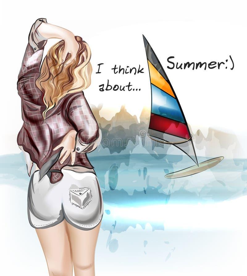 Vector милая девушка стоя назад и наблюдайте на море иллюстрация штока