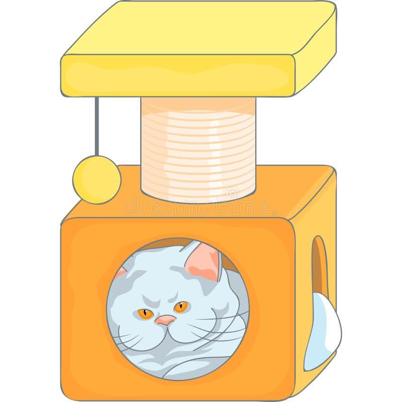 Vector милый великобританский кот в доме кота с грудами иллюстрация вектора