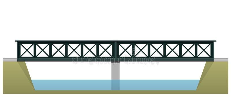 Vector мост поезда двойной, взгляд со стороны, на белой предпосылке иллюстрация штока