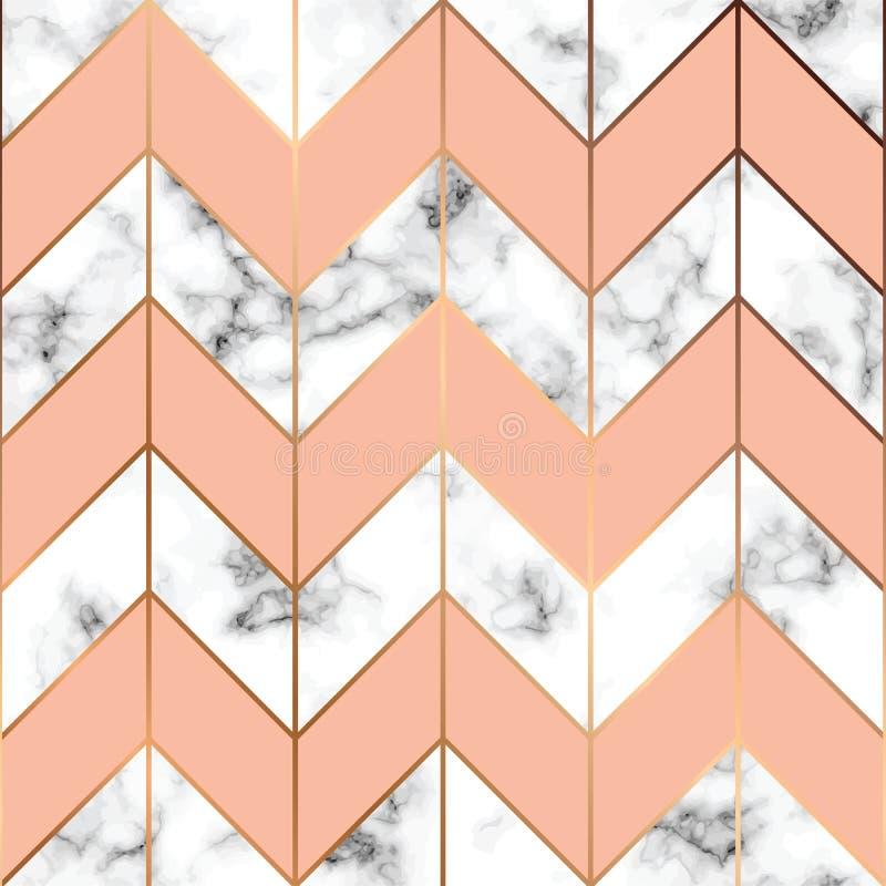 Vector мраморная текстура, безшовный дизайн с золотыми геометрическими линиями, черно-белая мраморизуя поверхность картины, совре иллюстрация штока