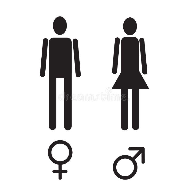Vector мужская и женская диаграмма и комплект значка знака секса простой черный иллюстрация вектора