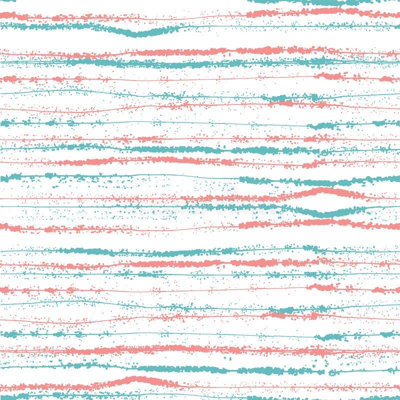 Vector нарисованная рука striped и картина точки польки безшовная иллюстрация вектора