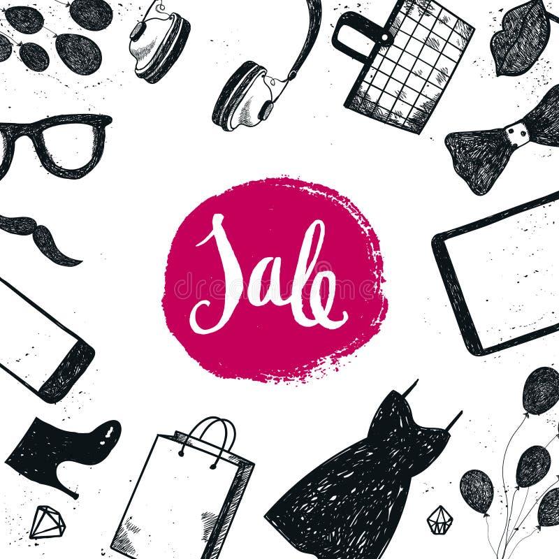 Vector нарисованное рукой знамя продажи, карточка, рогулька, брошюра Литерность продажи с магазином, продуктами супермаркета Плат иллюстрация вектора