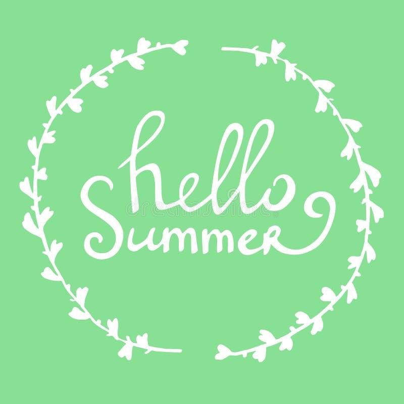 Vector нарисованное рукой лето литерности здравствуйте! в круглой рамке с с листьями иллюстрация штока