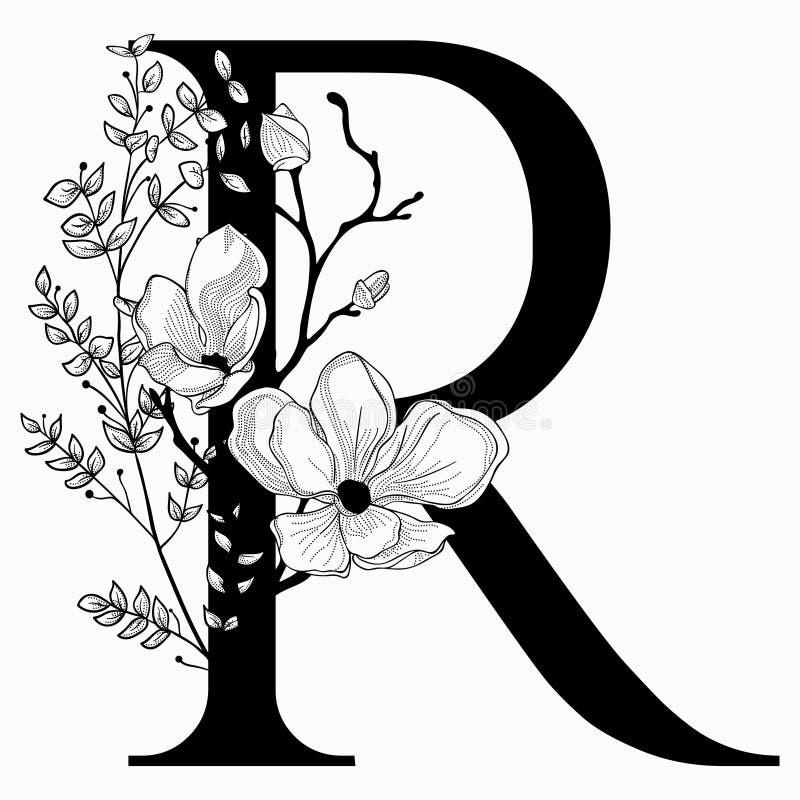 Vector нарисованные рукой флористические вензель и логотип uppercase r иллюстрация штока