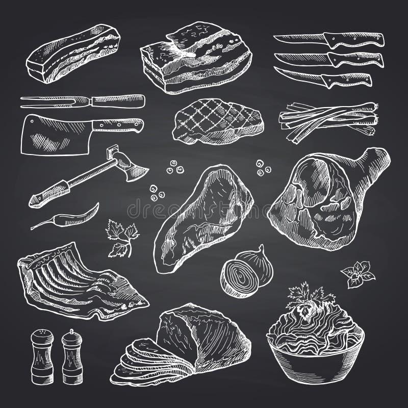 Vector нарисованные рукой monochrome элементы мяса на черной доске иллюстрация вектора