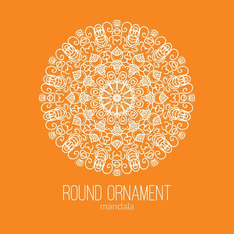 Vector нарисованный рукой белый флористический орнамент круга мандалы на оранжевой предпосылке Для татуировки или поздравительной бесплатная иллюстрация