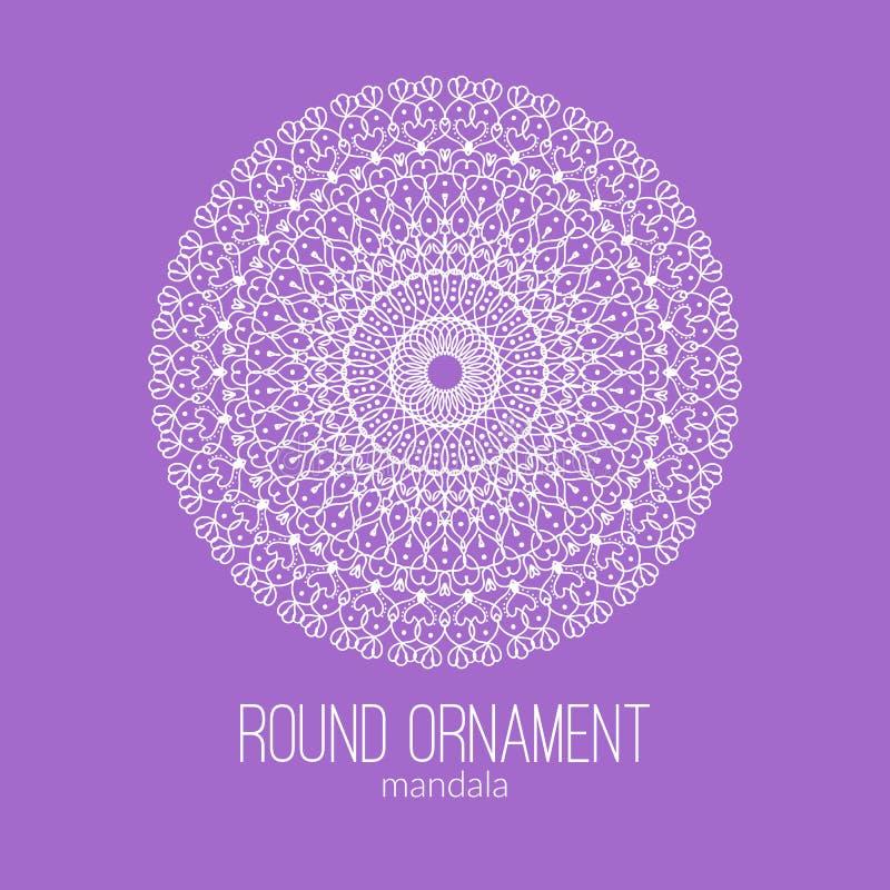 Vector нарисованный рукой белый флористический орнамент круга мандалы на фиолетовой предпосылке иллюстрация штока