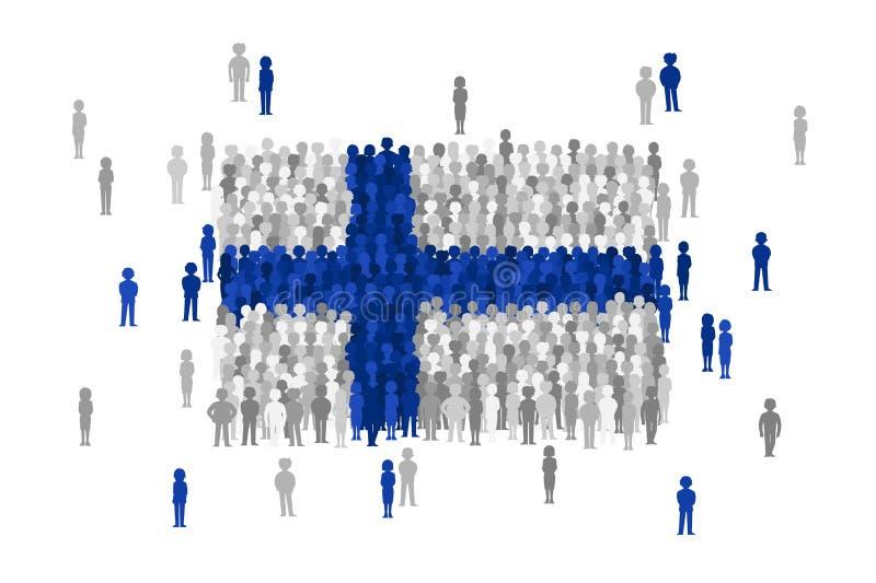 Vector национальный флаг Финляндии сформированный толпой людей шаржа бесплатная иллюстрация