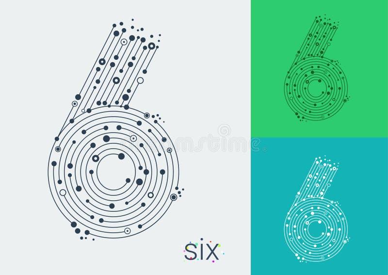 Vector 6 на яркой и красочной предпосылке Изображение в стиле techno, созданного путем переплетать линии и пункты иллюстрация вектора