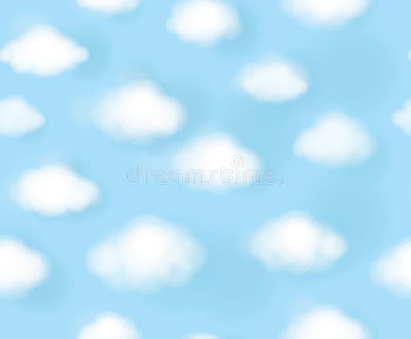 Vector небо безшовной милой картины голубое и белые облака иллюстрация вектора