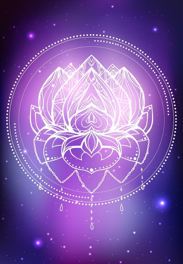 Vector неоновая иллюстрация лотоса с картиной boho, космоса предпосылки с звездами и межзвёздного облака бесплатная иллюстрация