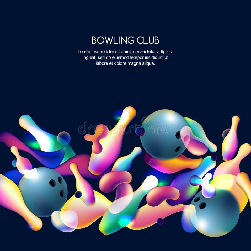 Vector неоновая предпосылка боулинга с multicolor шариками и штырями боулинга 3d Абстрактная иллюстрация на черной предпосылке иллюстрация вектора