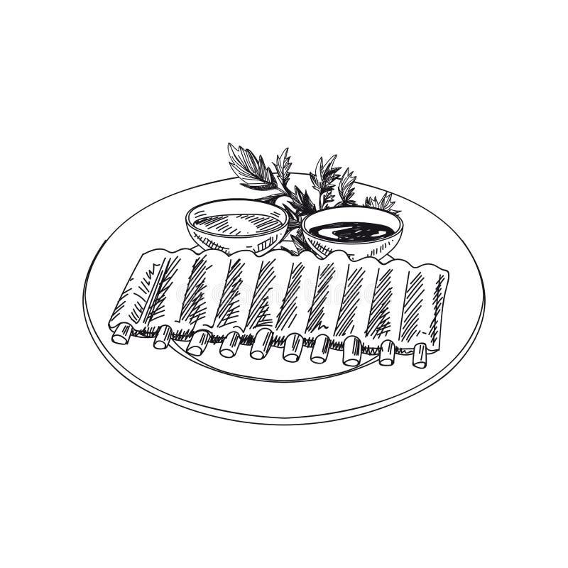 Vector нервюры нарисованные рукой с 2 видами соуса иллюстрация штока