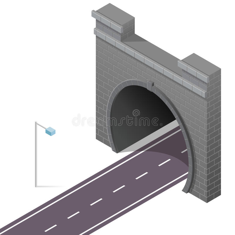 Vector низкий поли каменный тоннель в равновеликой перспективе 3d с дорогой асфальта иллюстрация штока