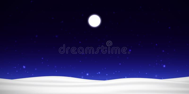 Vector ночное небо с луной, звездами и снегом стоковое фото