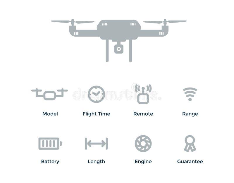 Vector объекты с трутнем, время плана концепции Quadrocopter полета, remote, ряд, батарея, длина, двигатель, гарантия бесплатная иллюстрация