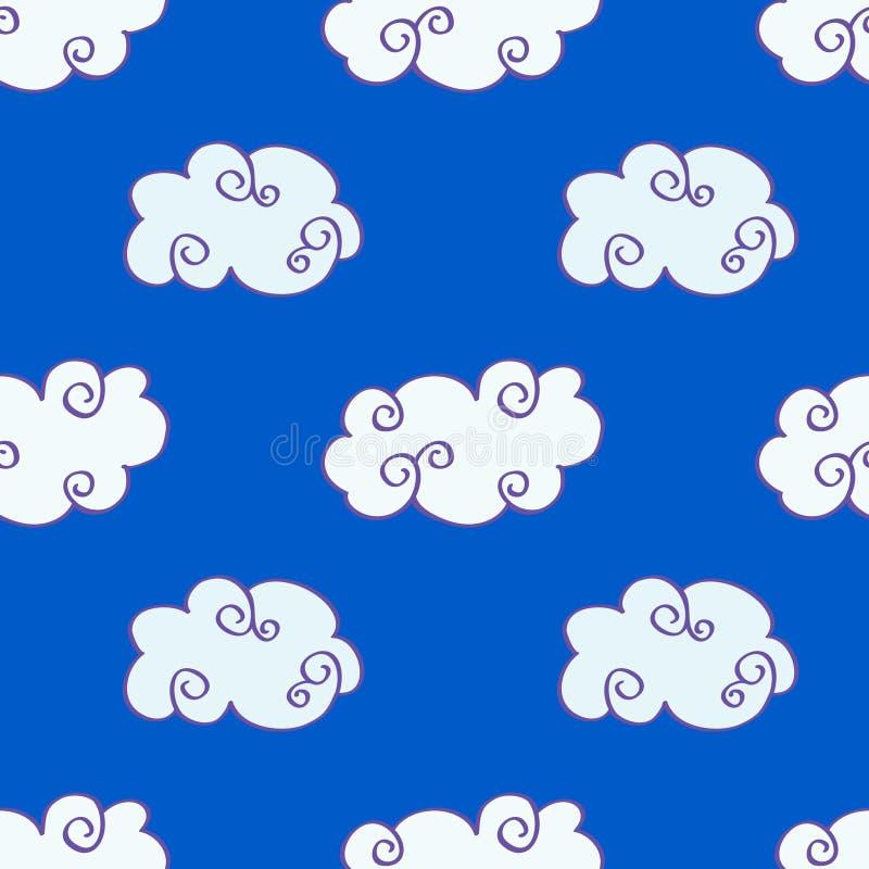 Vector облака нарисованные рукой над картиной голубого неба безшовной иллюстрация штока