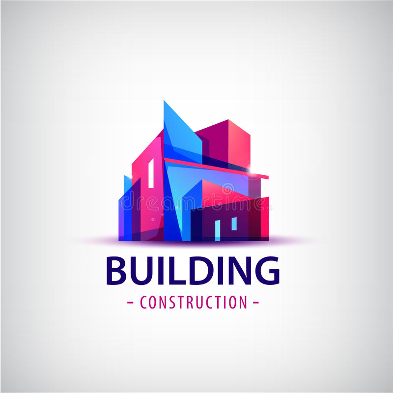 Vector логотип абстрактного здания красочный, изолированный значок иллюстрация вектора