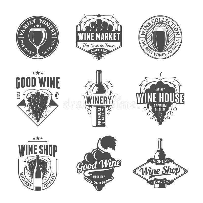 Vector логотип вина, значки и элементы дизайна иллюстрация штока