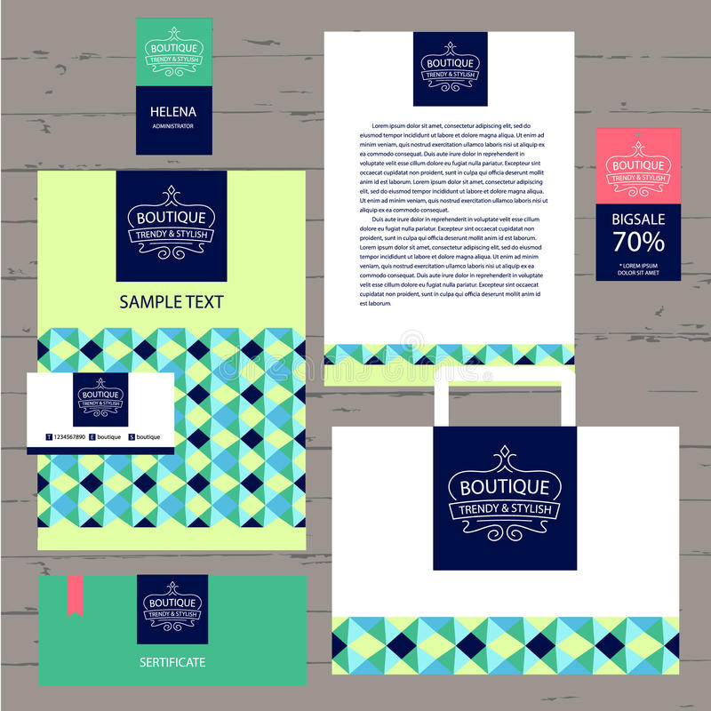 Vector логотип и фирменный стиль шаблона для бутика A иллюстрация штока