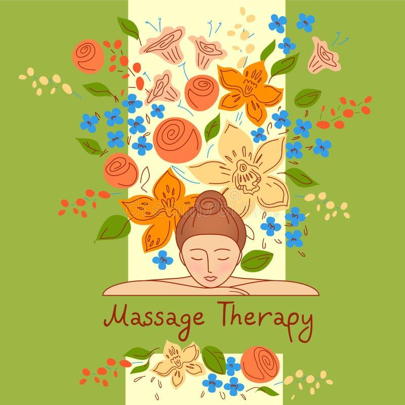 Vector логотип с цветком цвета нарисованным рукой для cen терапией экологичности бесплатная иллюстрация