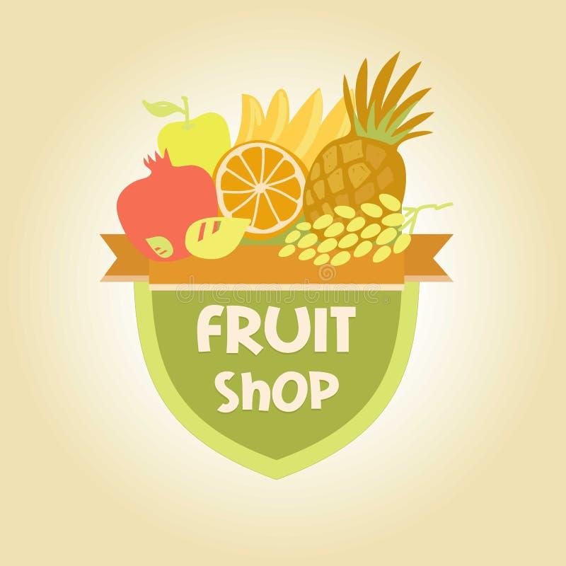Vector логотип для магазина плодоовощей, фруктового сока иллюстрация вектора