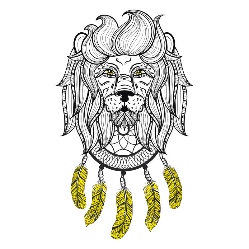 Vector орнаментальный лев с dreamcatcher, этнической сделанной по образцу головой иллюстрация штока