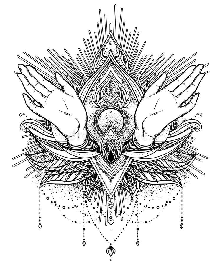Vector орнаментальный цветок лотоса и моля руки, сделанное по образцу Indi иллюстрация вектора
