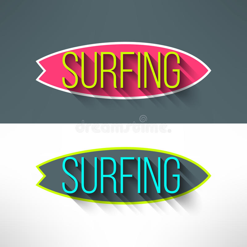 Vector оформление прибоя на доске серфинга в современном иллюстрация штока
