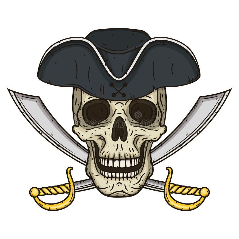 Vector одиночный череп пирата шаржа в шляпе с перекрестными шпагами бесплатная иллюстрация