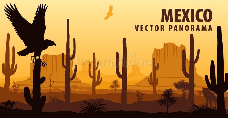 Vector панорама Мексики с орлом в пустыне иллюстрация вектора