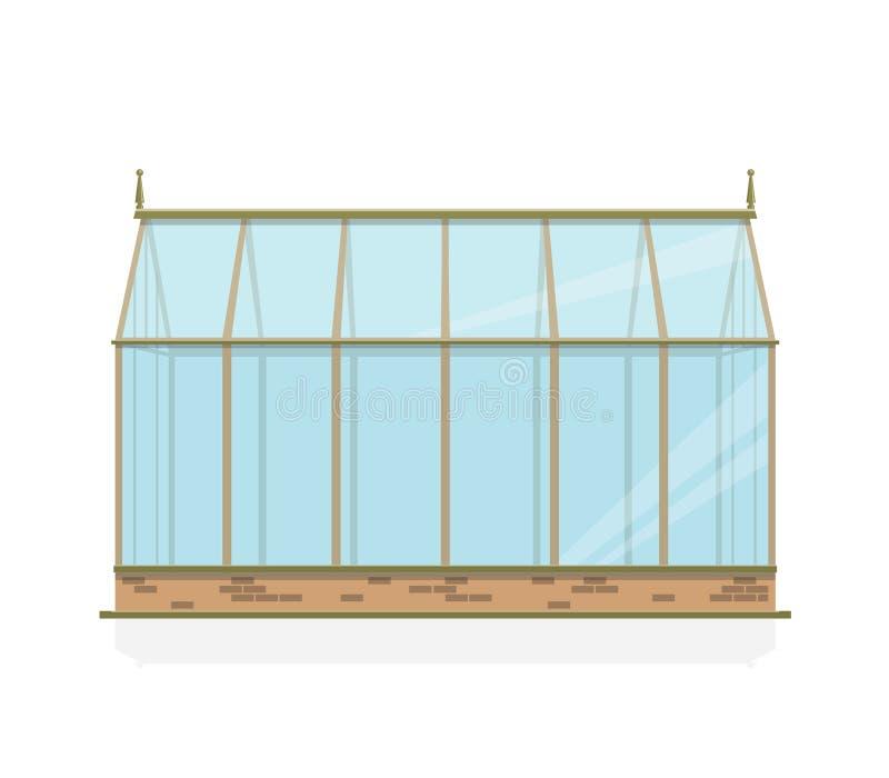 Vector парник с стеклом, учреждениями и крышей щипца, взглядом со стороны иллюстрация вектора