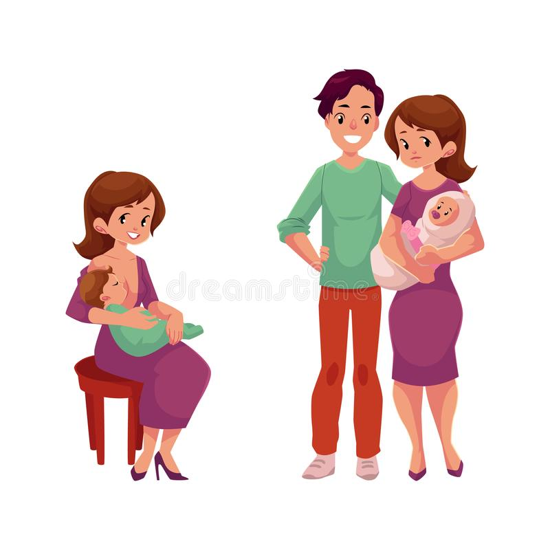 Vector пары с младенцем, женщиной с newborn младенцем иллюстрация вектора