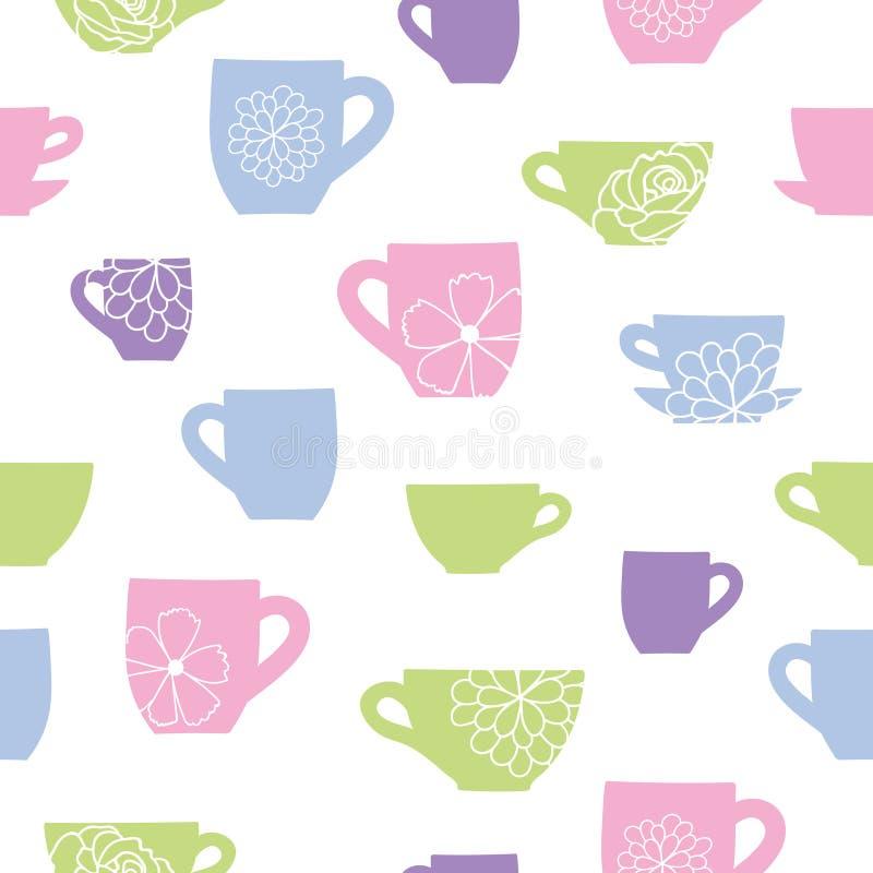 Vector пастельная красочная предпосылка картины чашек и цветков безшовная иллюстрация штока