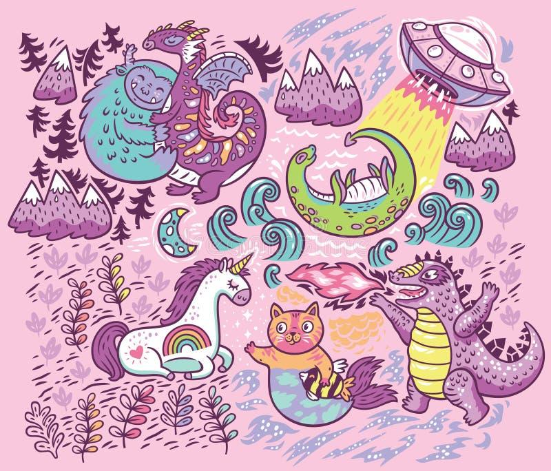 Vector печать при фантастические твари изолированные на розовой предпосылке иллюстрация штока