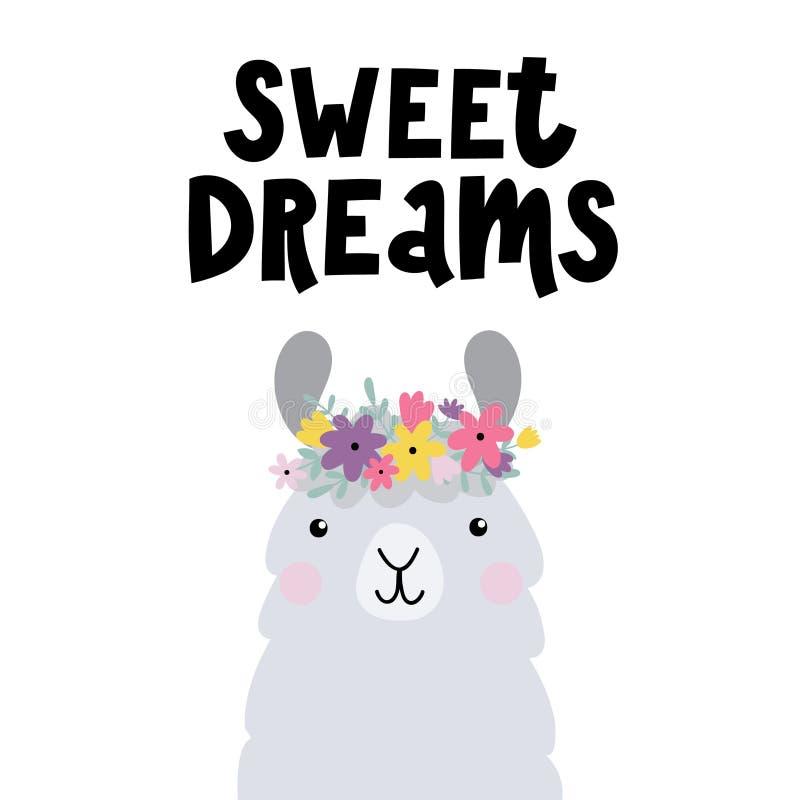 Vector печать с милыми мечтами лама и текста сладостными стоковое изображение rf