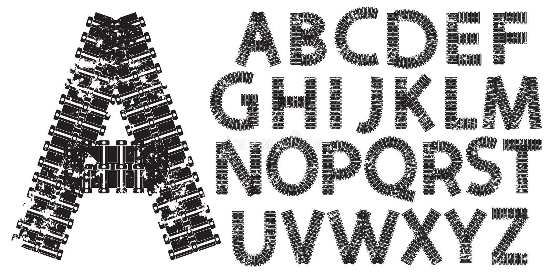 Vector письма алфавита сделанные от следов танка и трактора иллюстрация штока