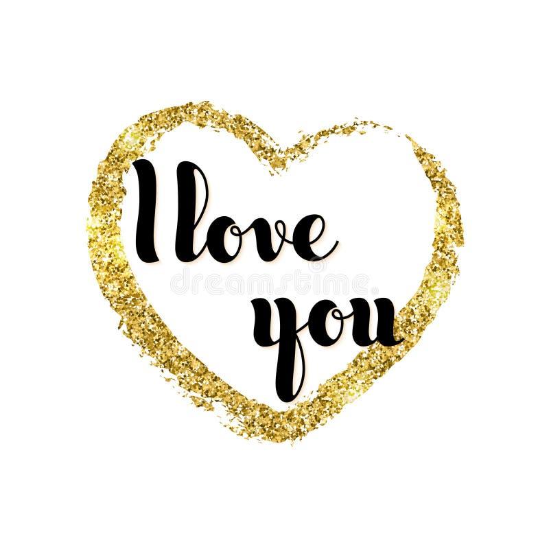 Vector письменные слова руки я тебя люблю и сердце яркого блеска золотое g иллюстрация штока