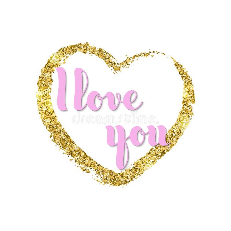 Vector письменные слова руки я тебя люблю и сердце яркого блеска золотое g иллюстрация вектора
