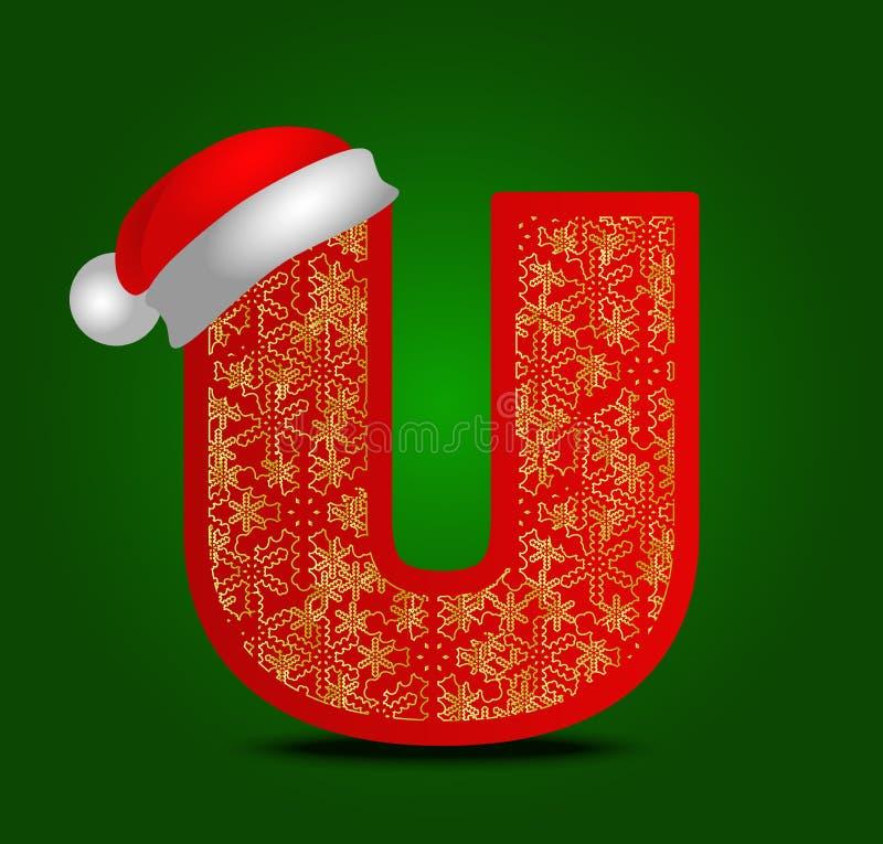 Vector письмо u алфавита с снежинками шляпы и золота рождества стоковая фотография rf