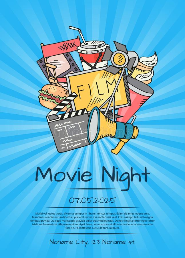 Vector плакат значков кино для ночи кино или фестиваля иллюстрация вектора