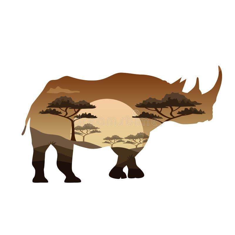Vector плакат на диких животных тем Африки, сафари, животных саванны, иллюстрация штока